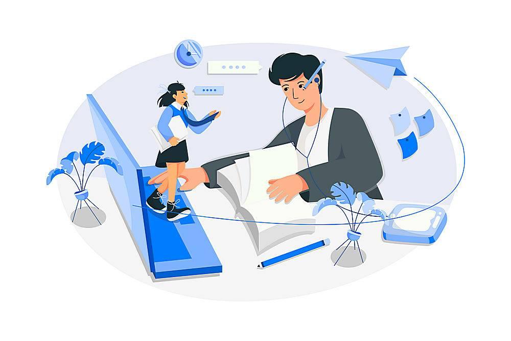 网上学习的大学生主题人物矢量插画设计