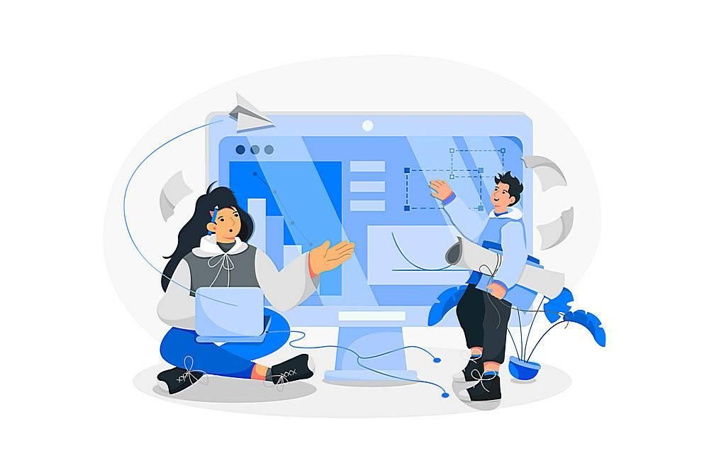 设计图与人物沟通主题人物矢量插画设计