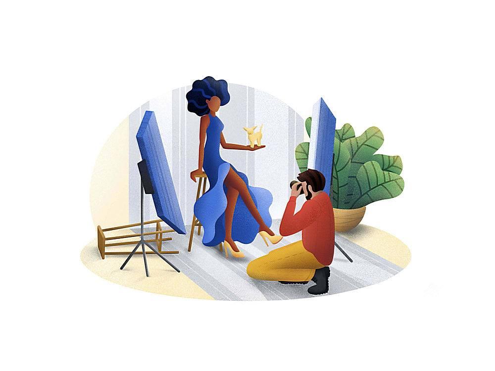 艺术摄影主题人物矢量插画设计