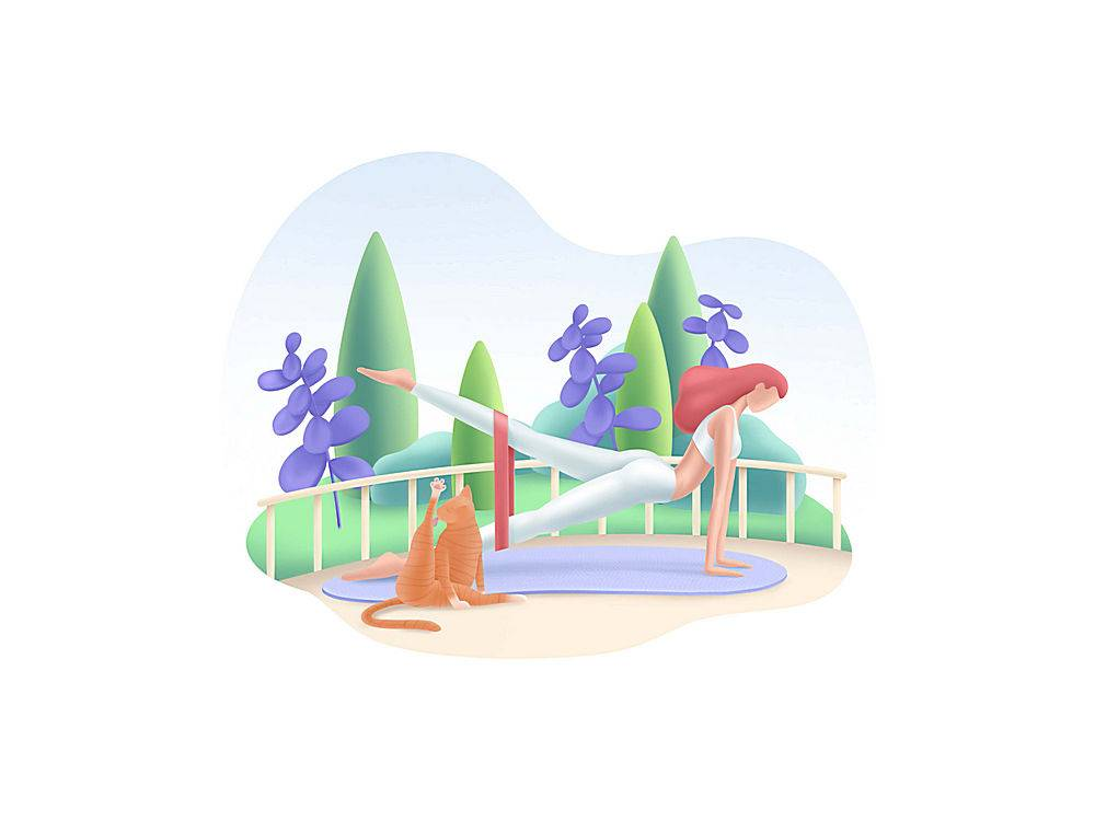 公园健身女性主题人物矢量插画设计