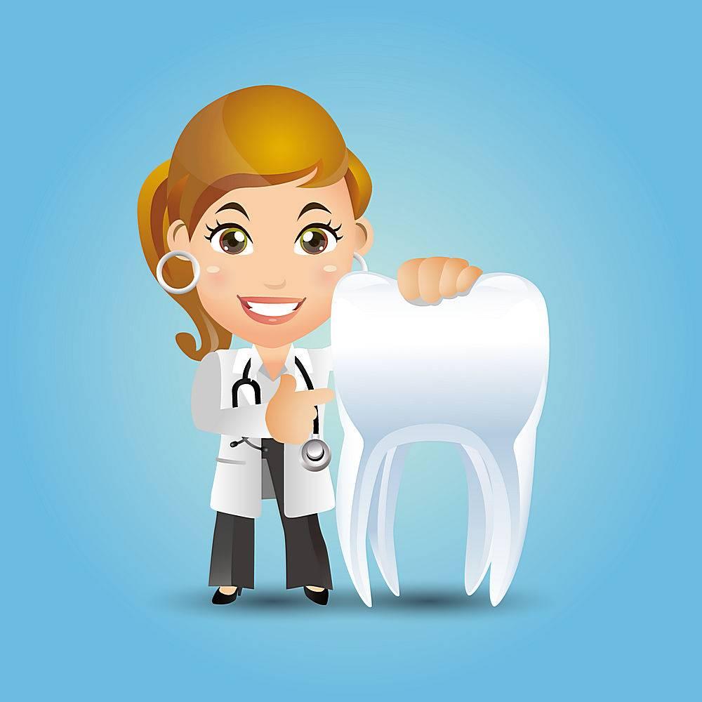 女牙医与牙齿主题牙医口腔爱牙护牙人物矢量插画设计
