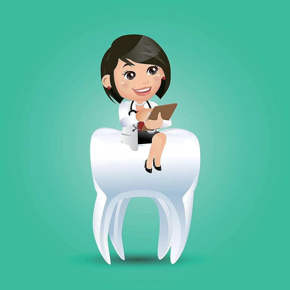 坐在牙齿上的女牙医主题牙医口腔爱牙护牙人物矢量插画设计