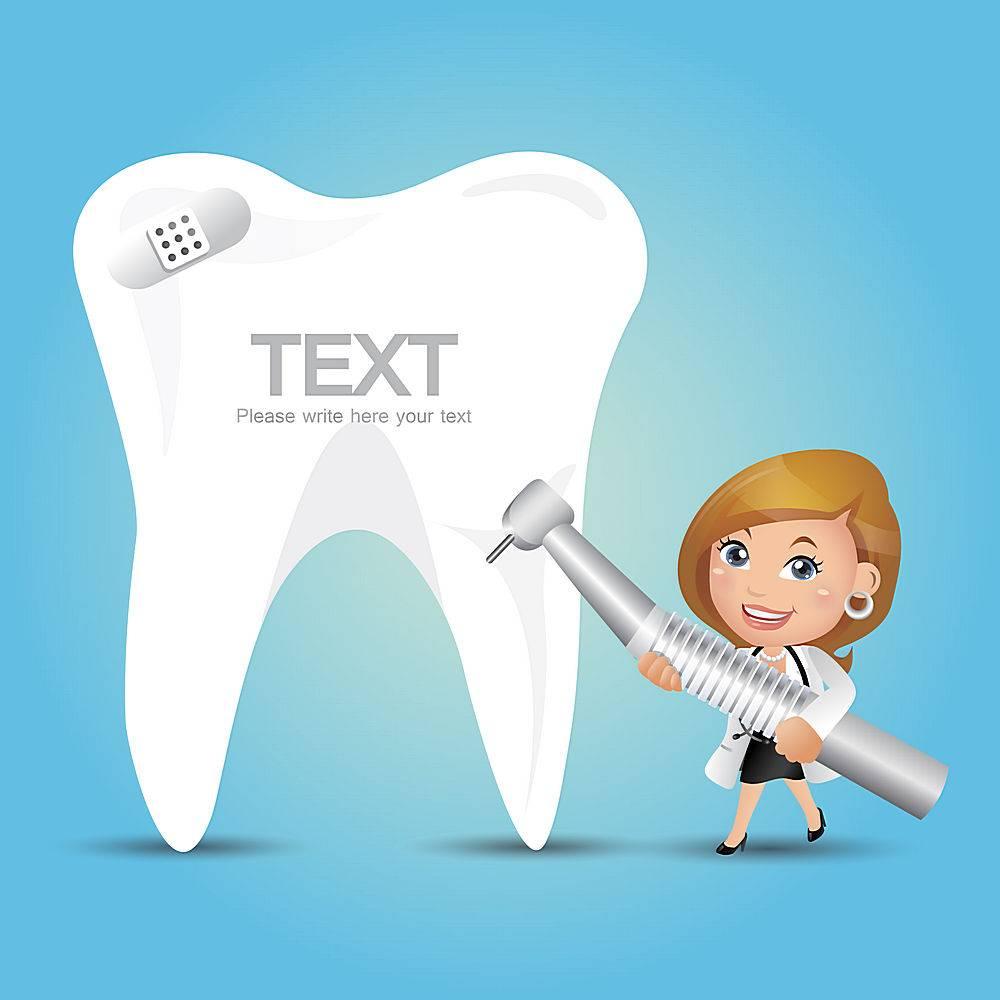 牙医与牙齿补牙修牙主题牙医口腔爱牙护牙人物矢量插画设计