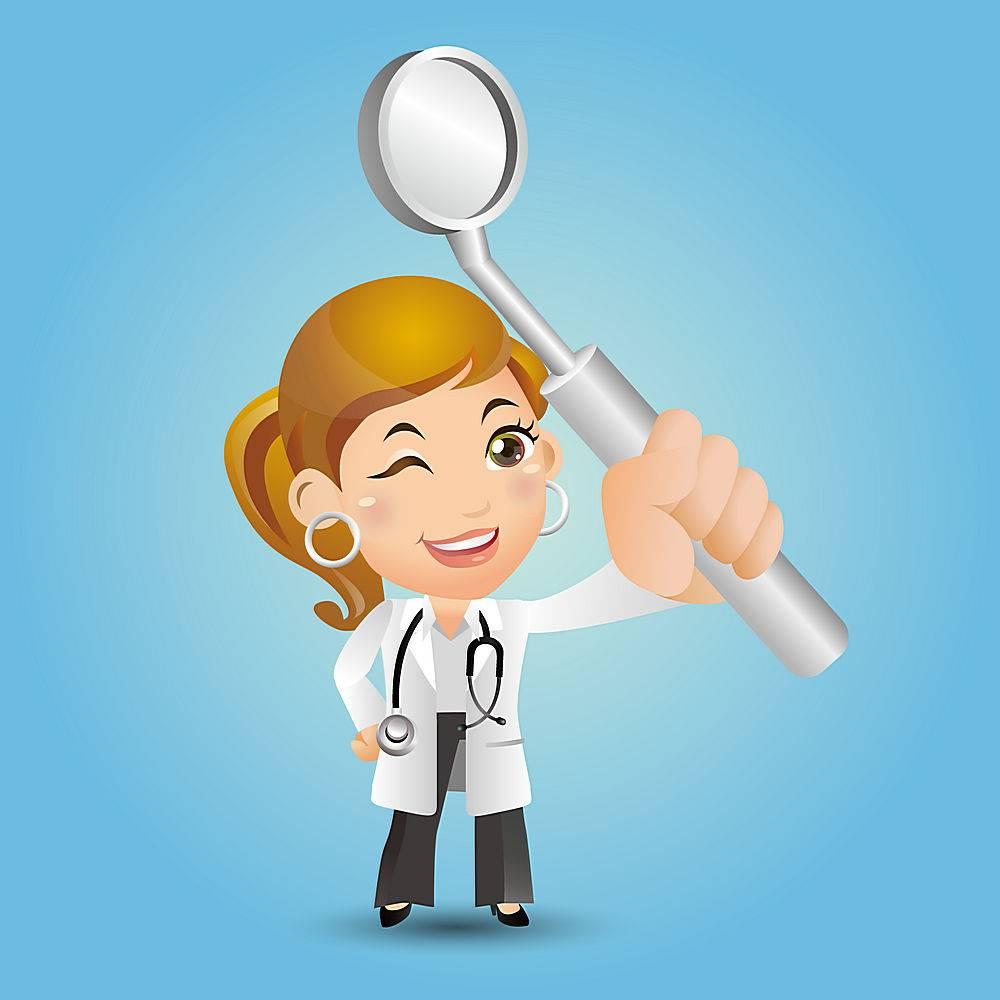 牙医和口腔镜子主题牙医口腔爱牙护牙人物矢量插画设计