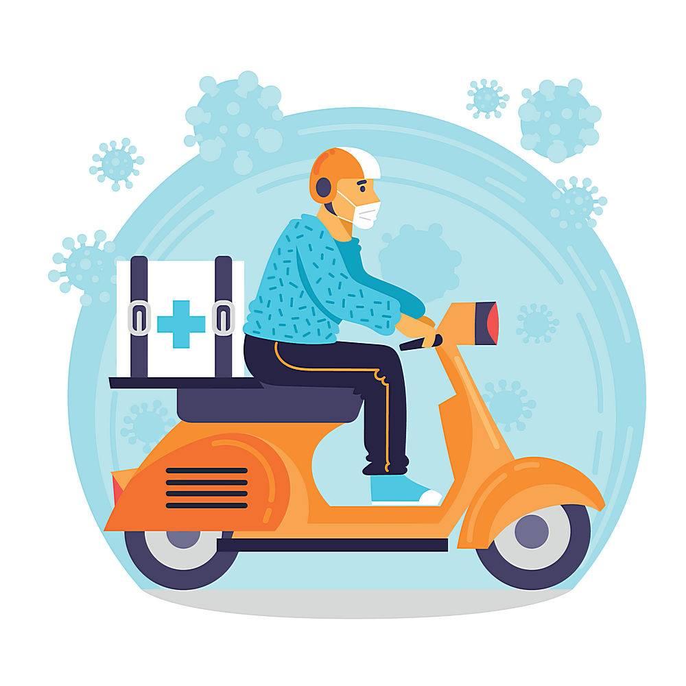 疫情戴口罩人物电动车外卖快递送货上门海报设计