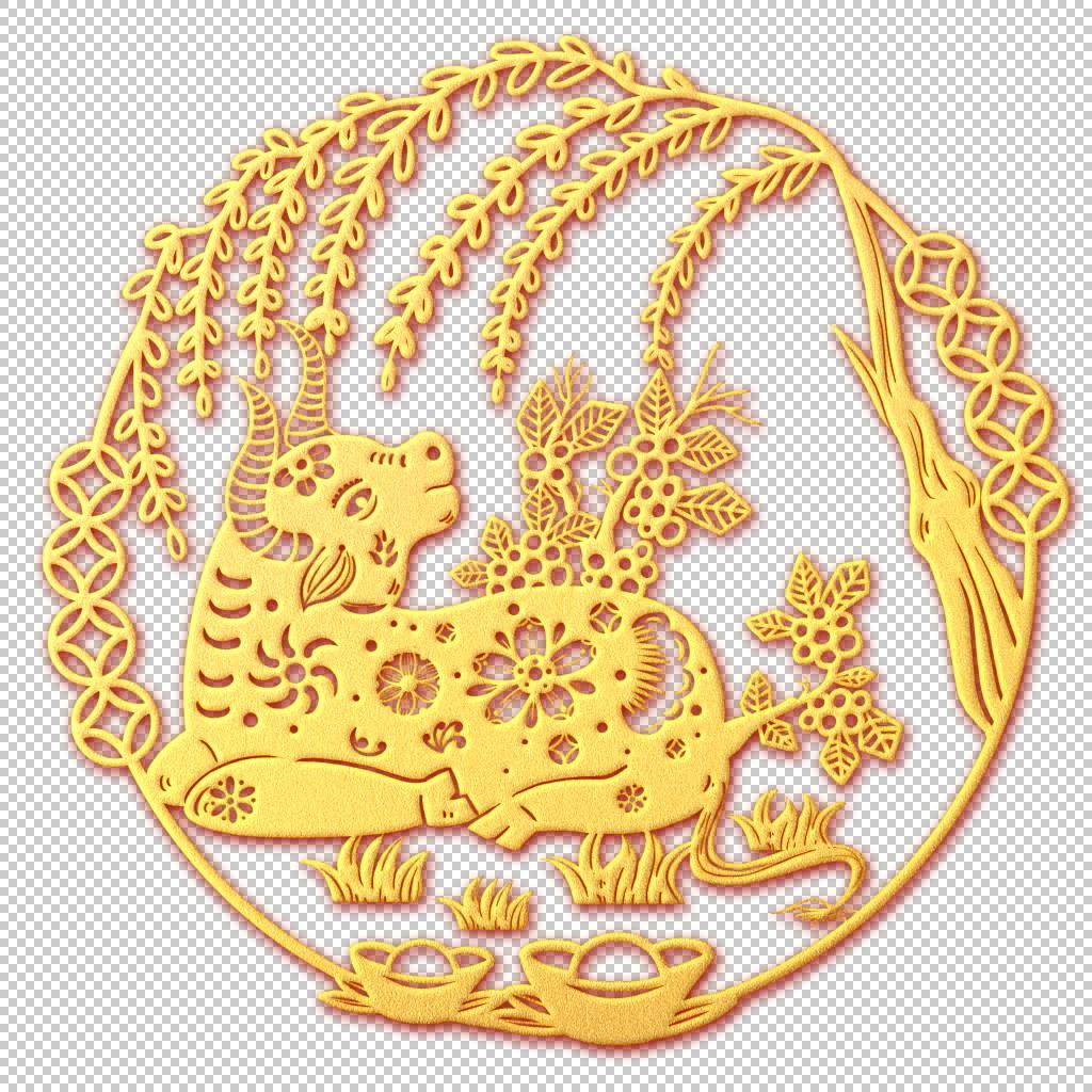 新春金色福牛风景装饰元素