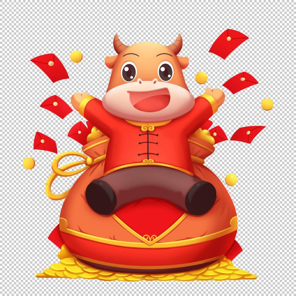 牛年插画风福袋红包卡通牛形象元素
