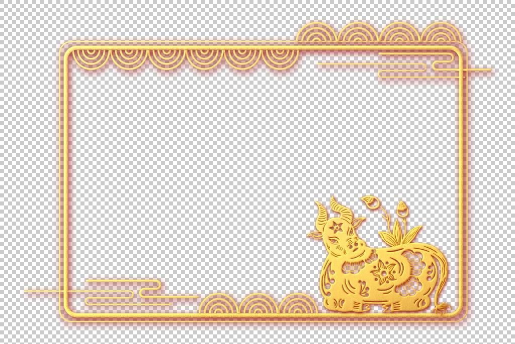 金色古典边框牛年2021年新年边框