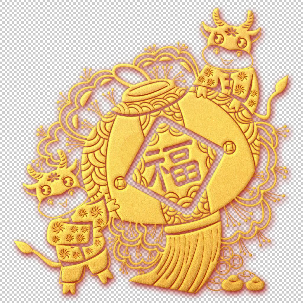金色浮雕风牛年大吉灯笼新年装饰元素