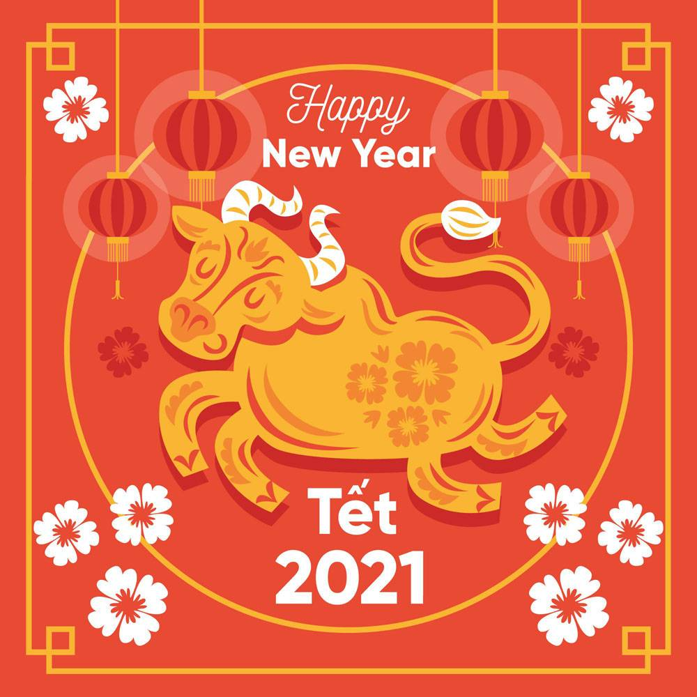 2021年越南新年快乐手绘