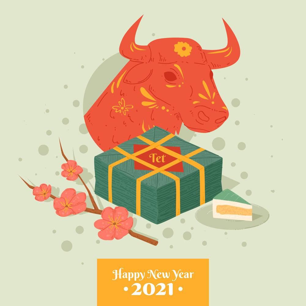 2021年越南新年快乐牛年快乐