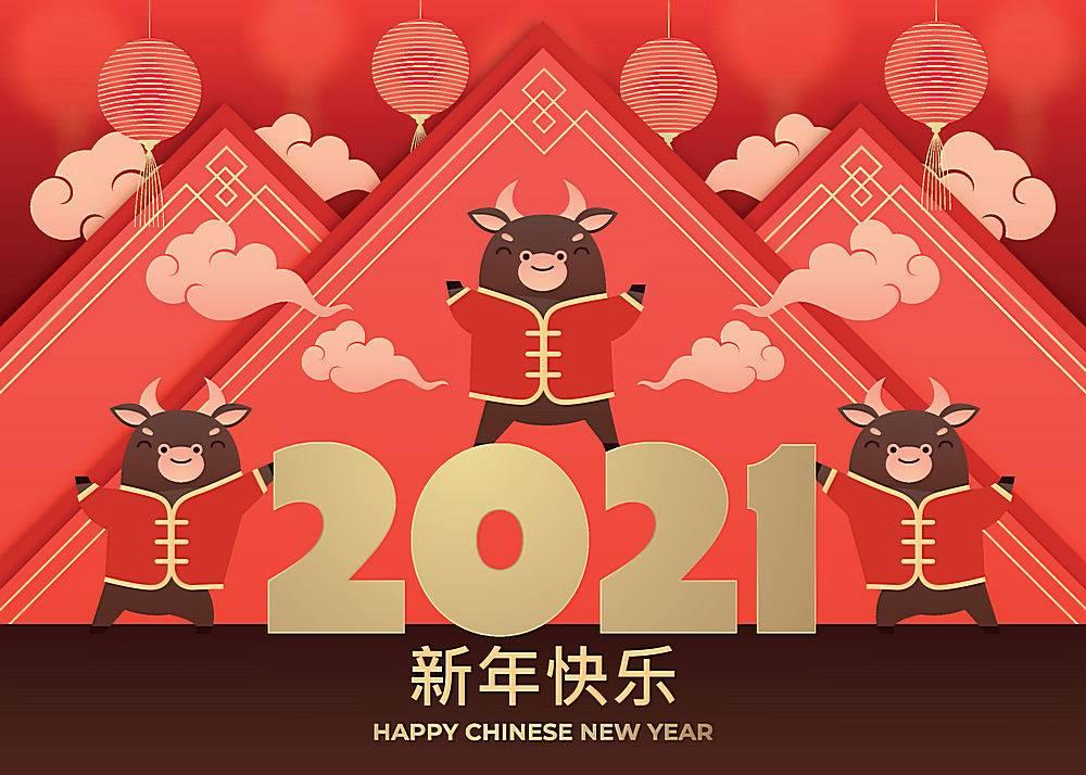 2021年中国新年矢量展板