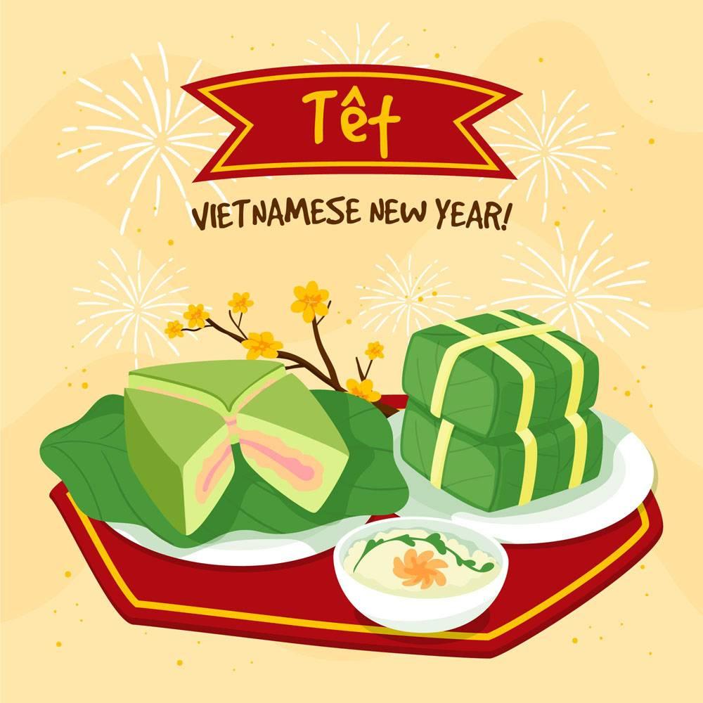 手绘越南新年