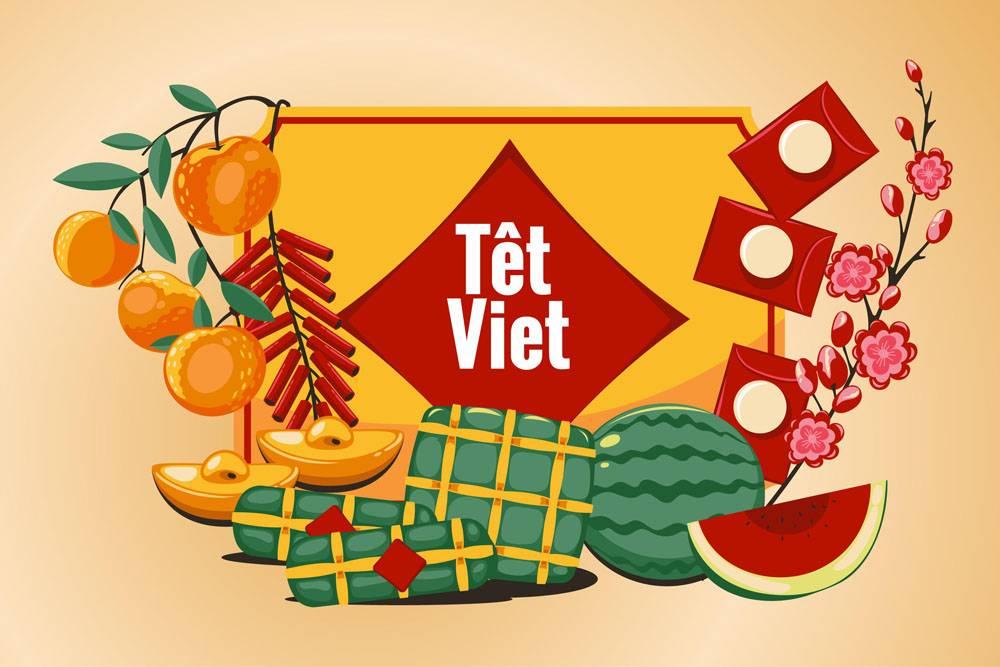 手绘越南新年插画素材