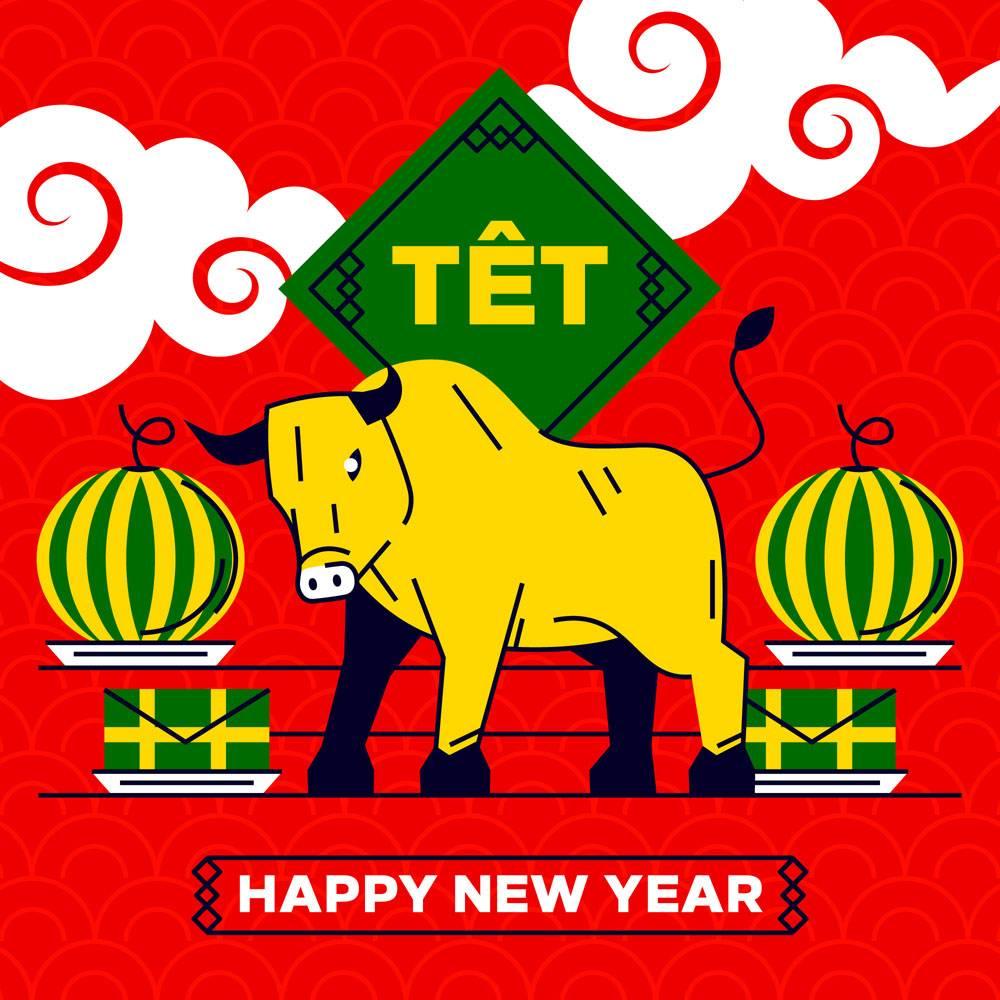 越南新年牛和西瓜矢量素材