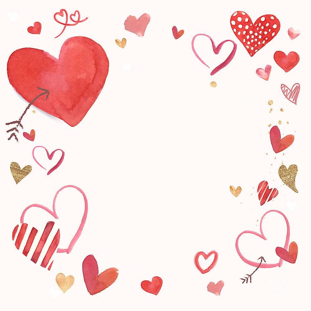爱心情人节唯美边框水彩画插图