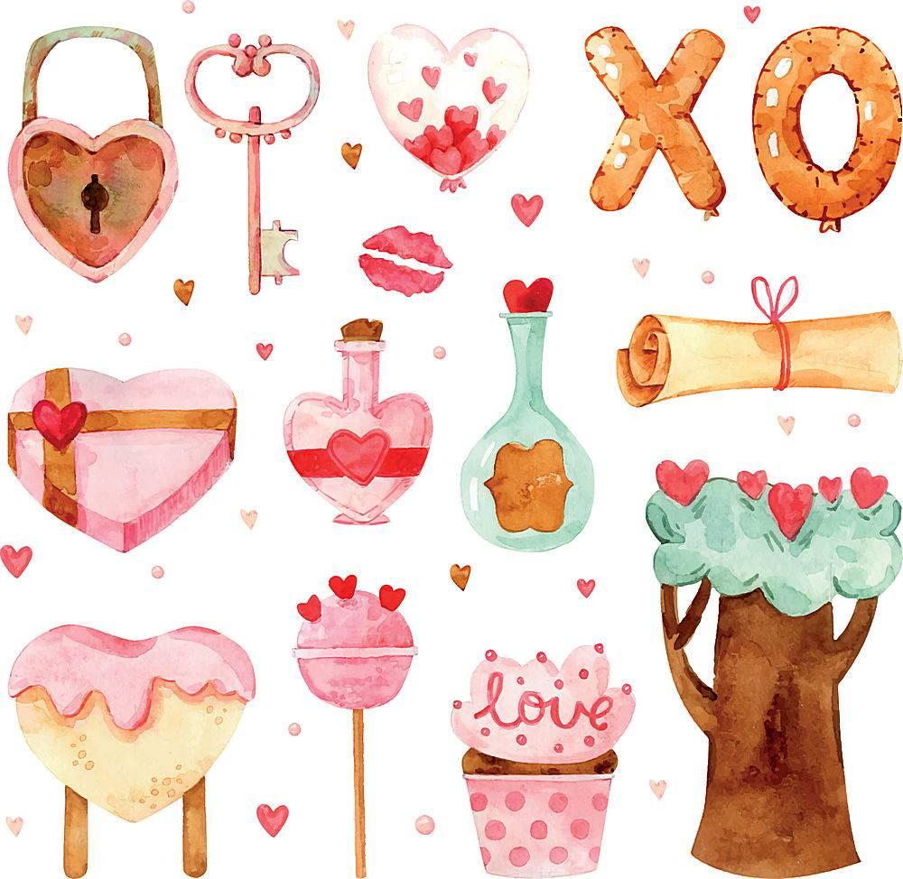 水彩画情人节日元素甜品蛋糕物品插画