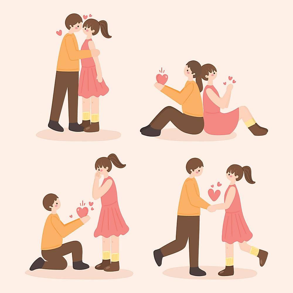 手绘情人节情侣求婚表白插画