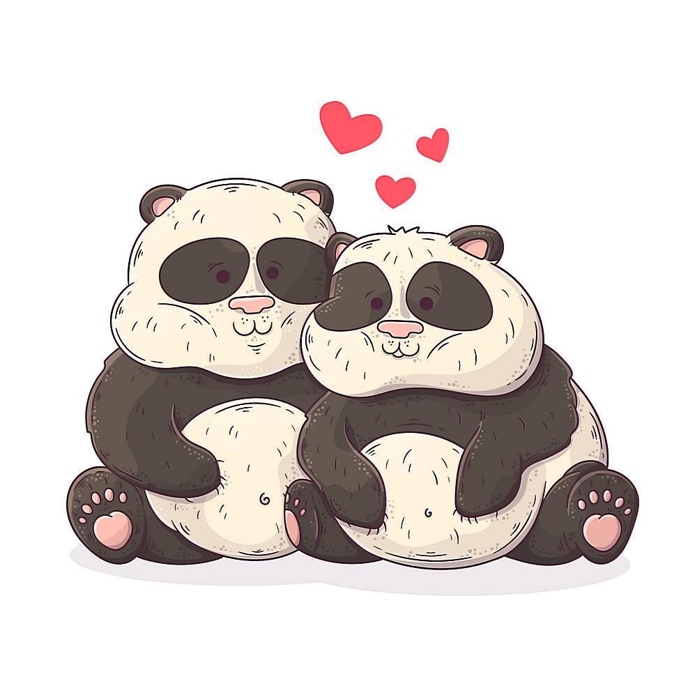 可爱的情人节熊猫夫妇