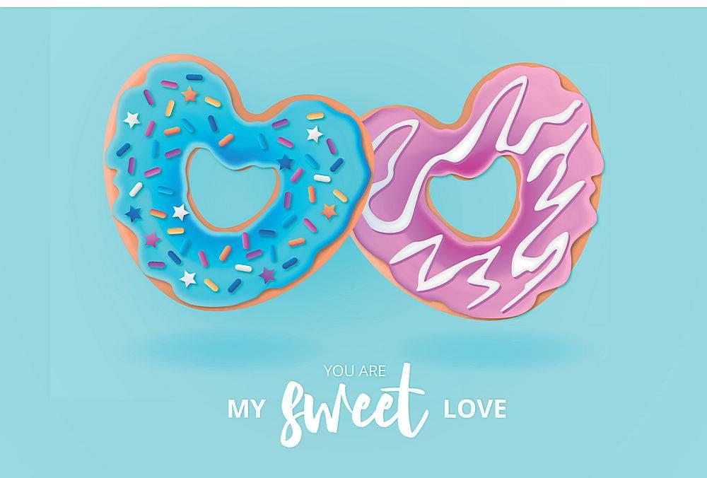 可爱甜甜圈爱心背景
