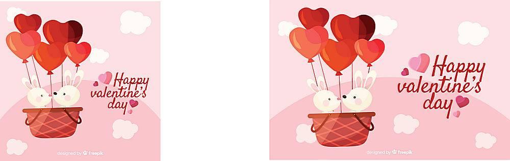 情人节爱心热气球兔子情侣矢量背景