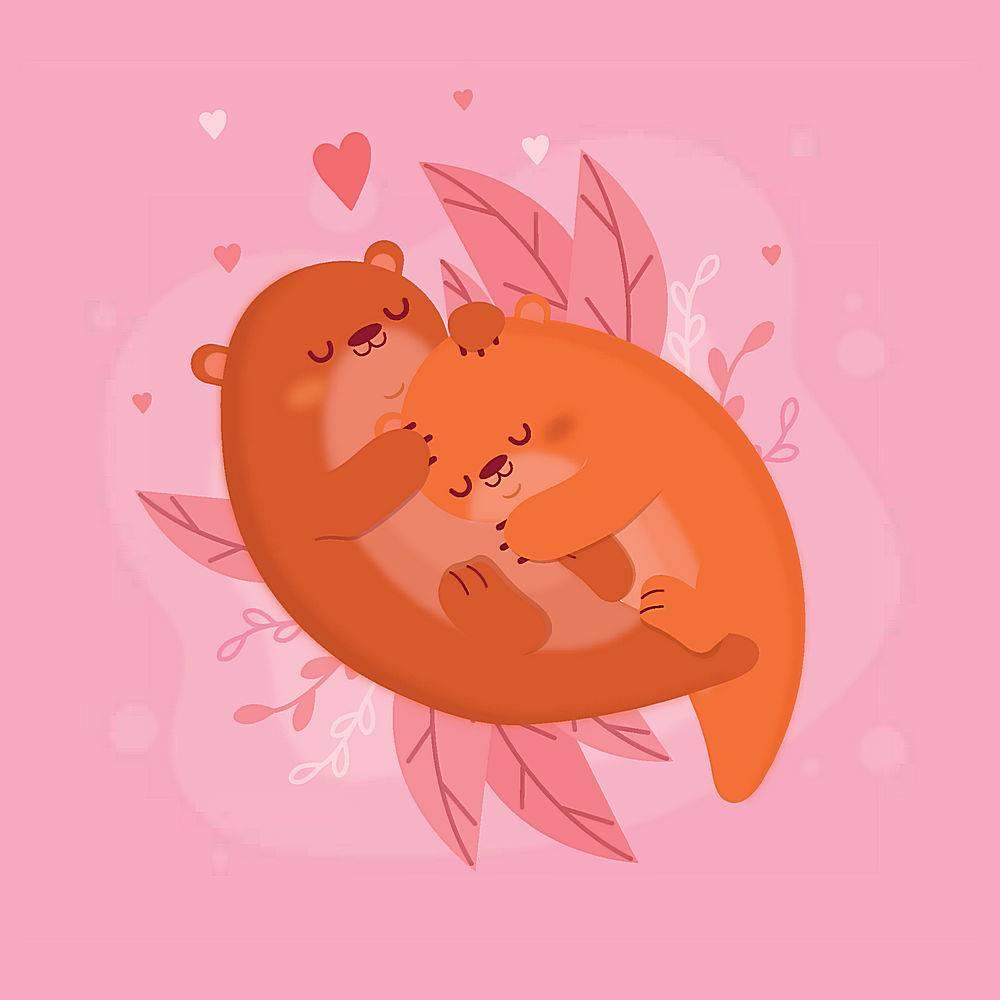 情人节水獭动物情侣插画