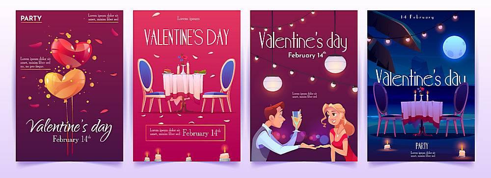 情人节情侣约会横幅邀请函插画设计