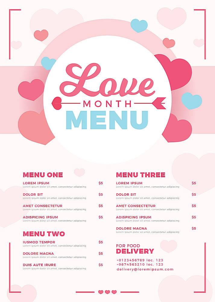 扁平情人节菜单模板