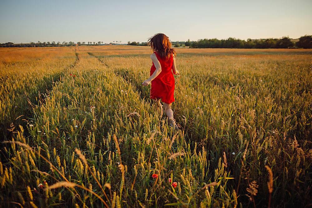 身穿红色连衣裙的美女站在金色的夏日田野上_371284101