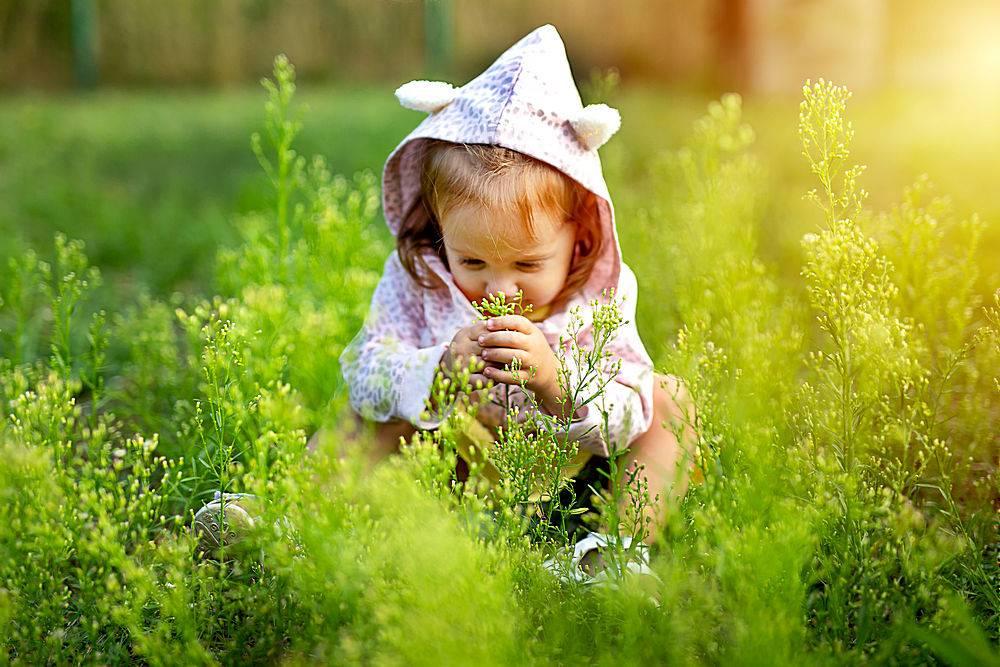 在草地上玩耍的可爱的小女孩_1075939201