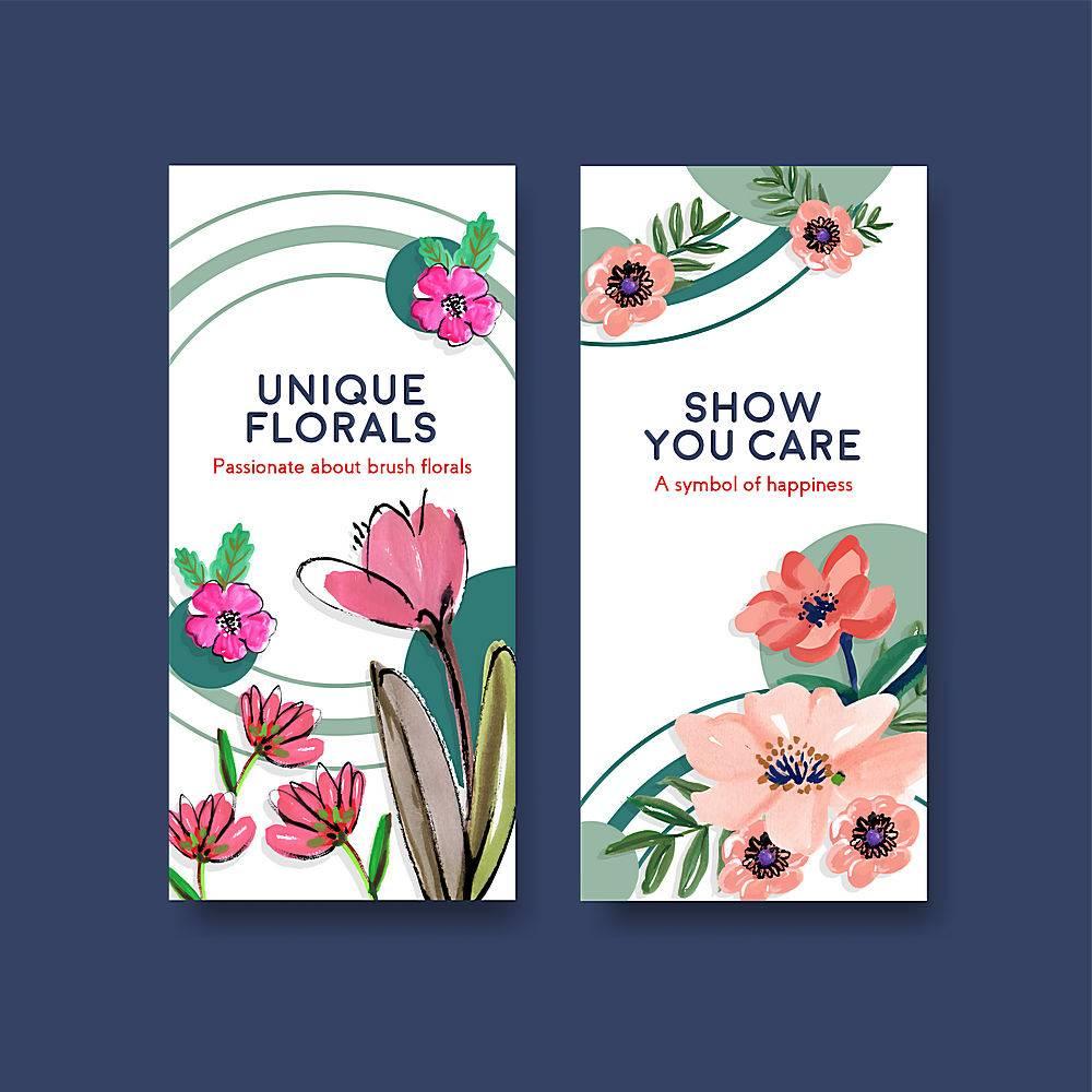 宣传册和传单水彩画的刷花传单模板概念设计_119534200101