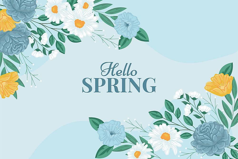 你好春天的花卉背景_78411270101