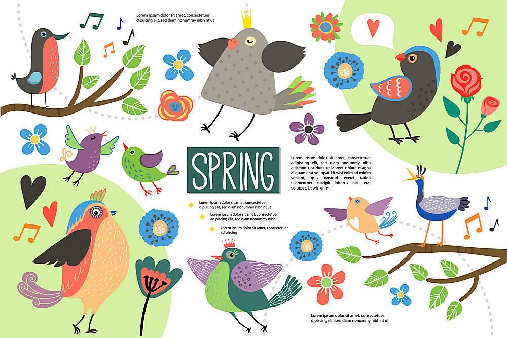 平坦的你好春天的信息图概念_110537640101
