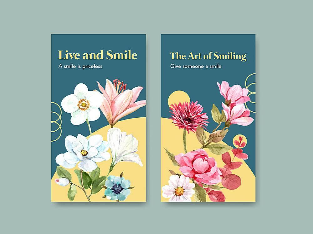 Instagram模板以鲜花花束设计为世界微笑日_102198960101