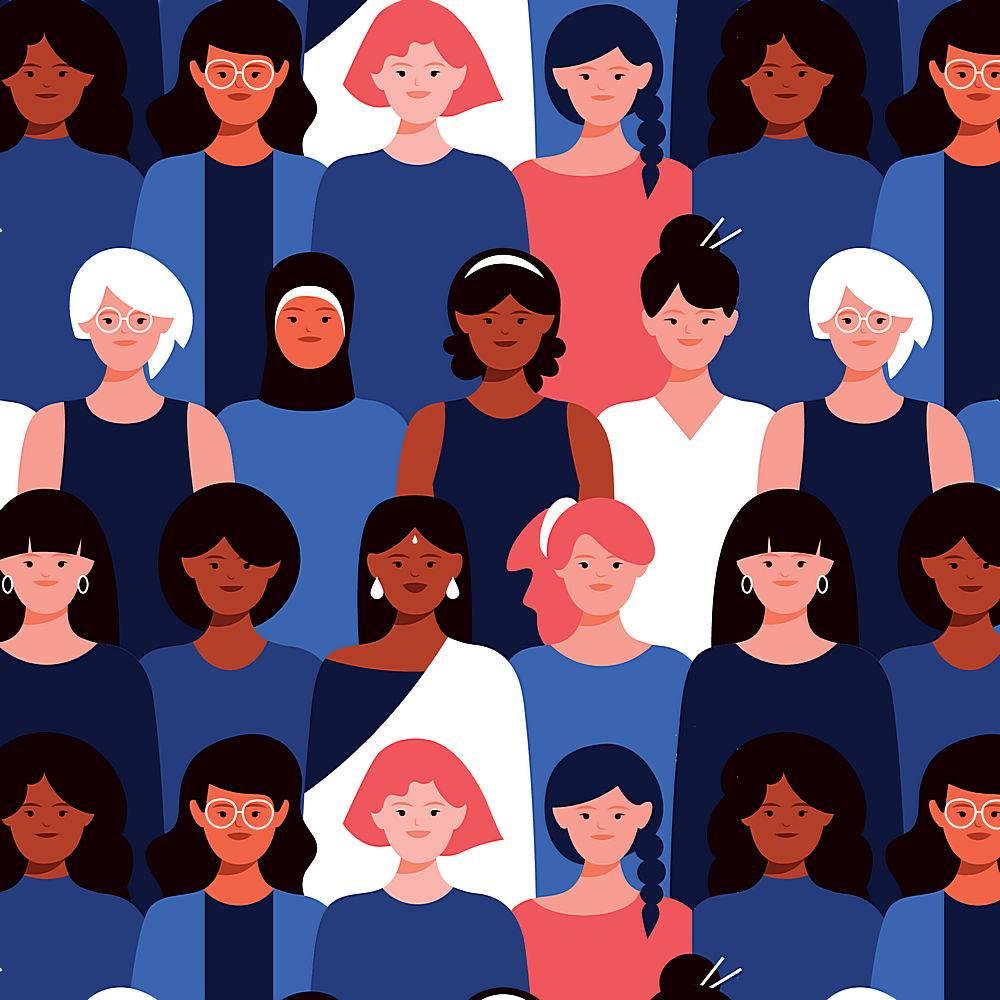 女性面孔的无缝图案_65402430101