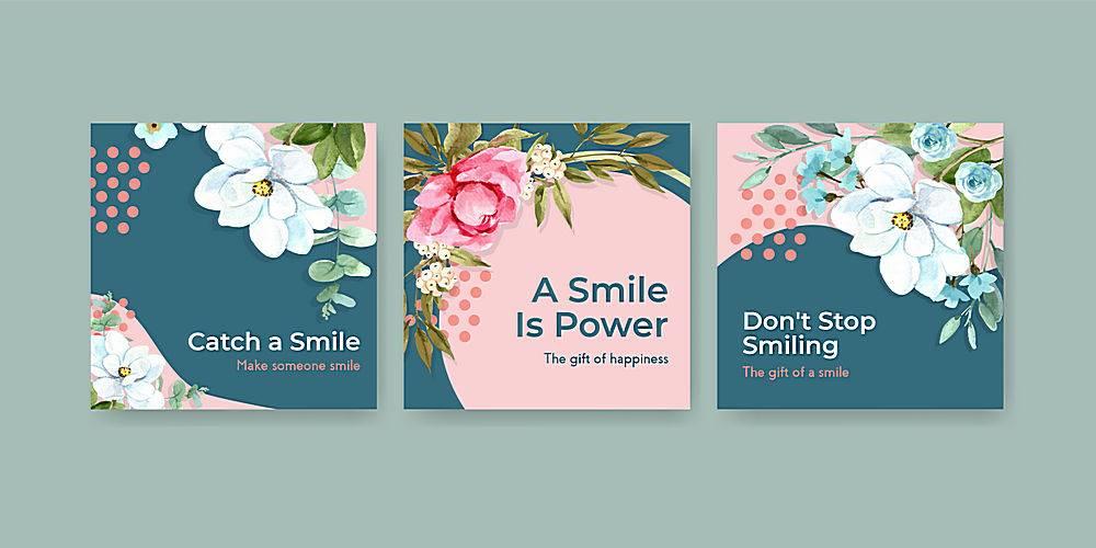 广告模板以花束设计为世界微笑日概念营销_102198410101
