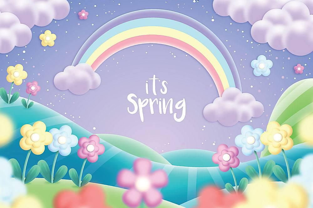 美丽的春色与彩虹交相辉映_67035350101