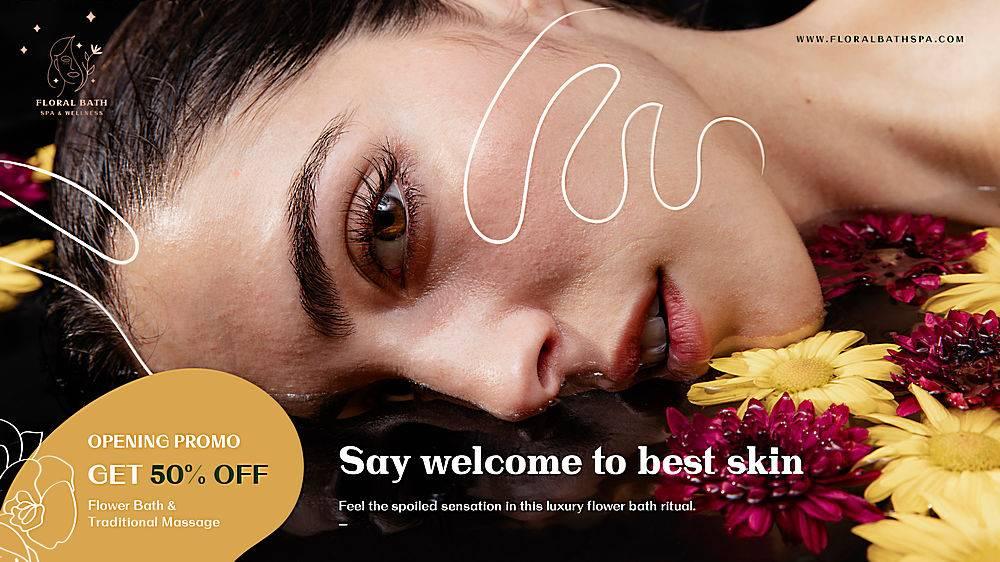 花卉水疗广告模板横幅_114026670101