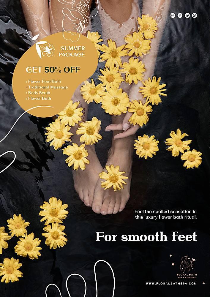 花卉水疗广告海报模板_114026800101