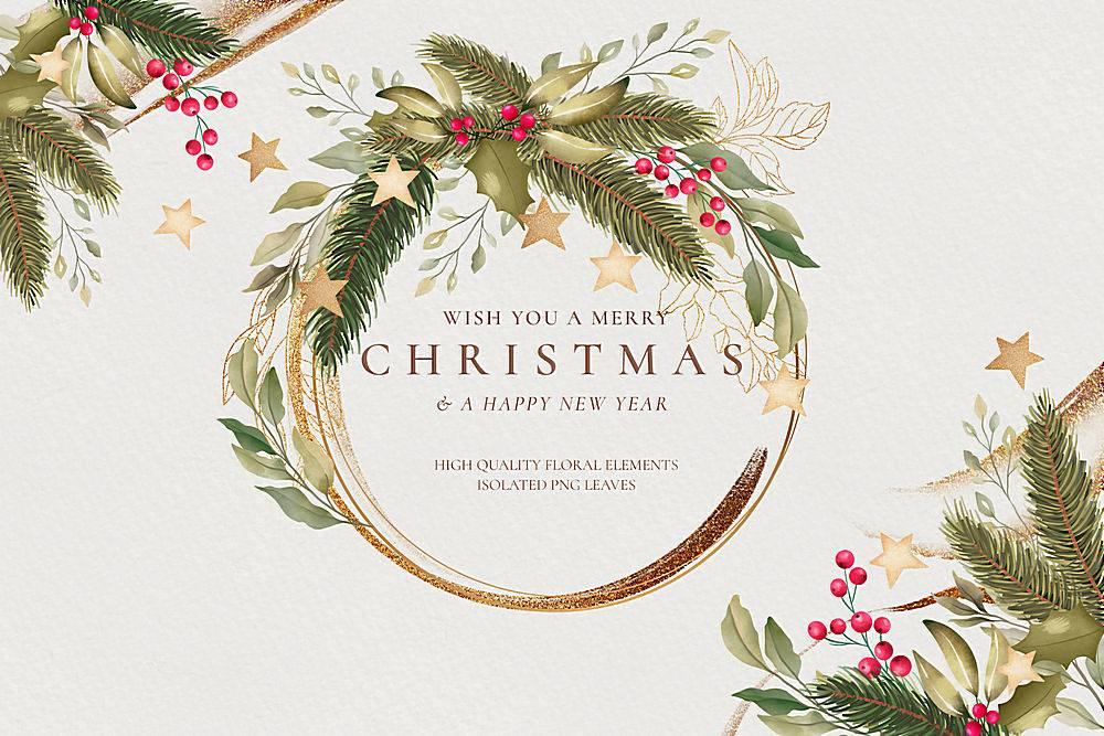 水彩画圣诞背景配金色边框_109683560102