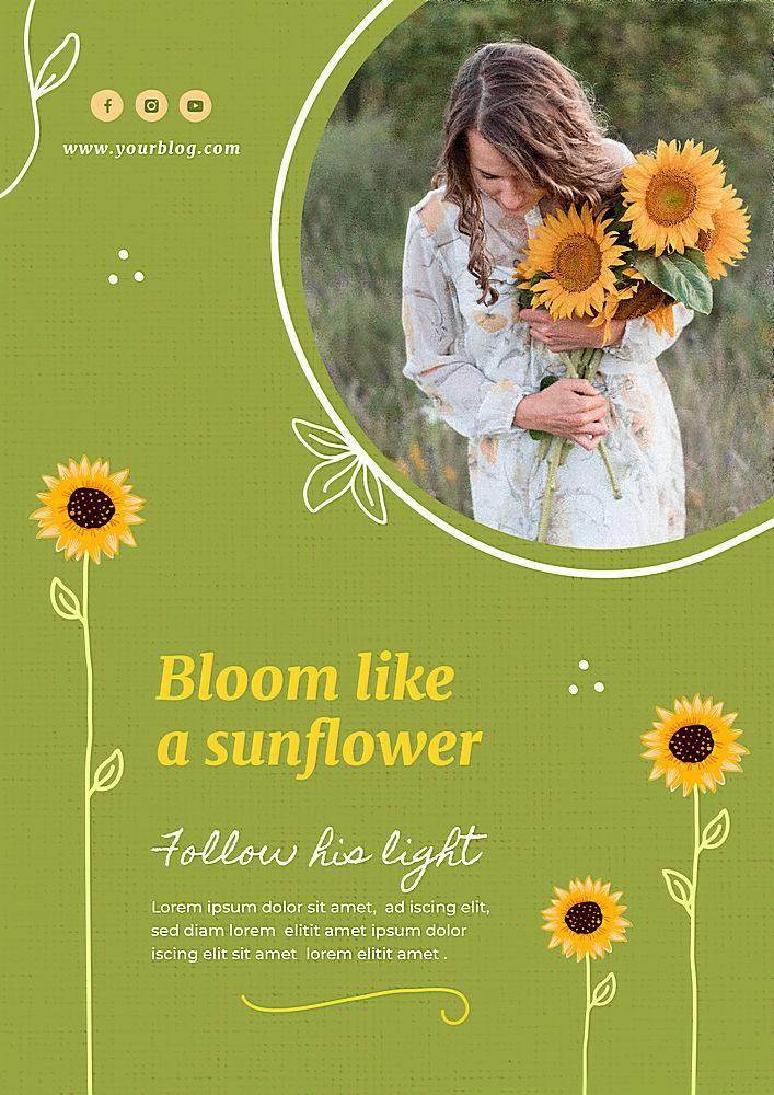 向日葵和女人海报模板_114612190102