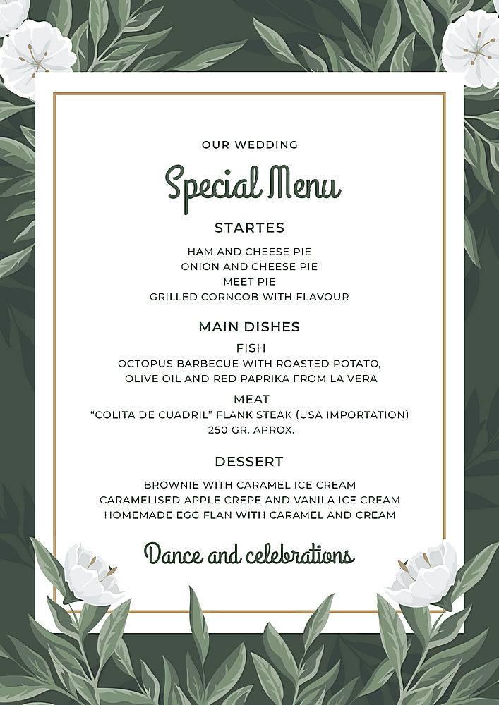 婚礼花卉菜单模板_78238830102