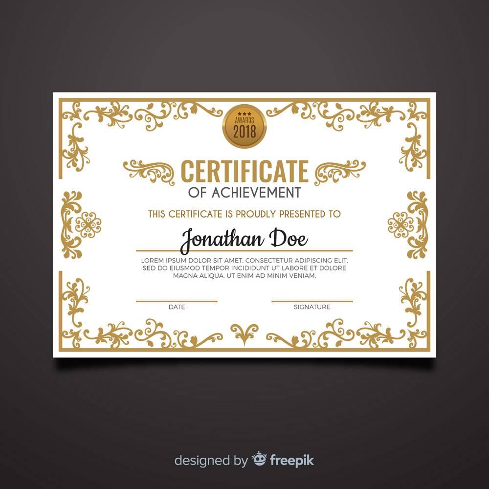 带有金色元素的装饰性毕业证书模板_3278775
