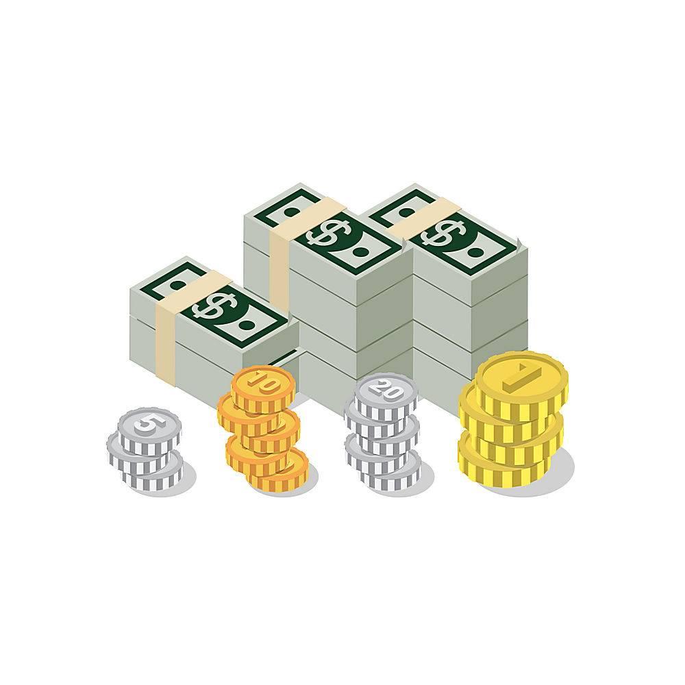 扁平d等距堆美元纸币包装硬币网信息图概念_11552676