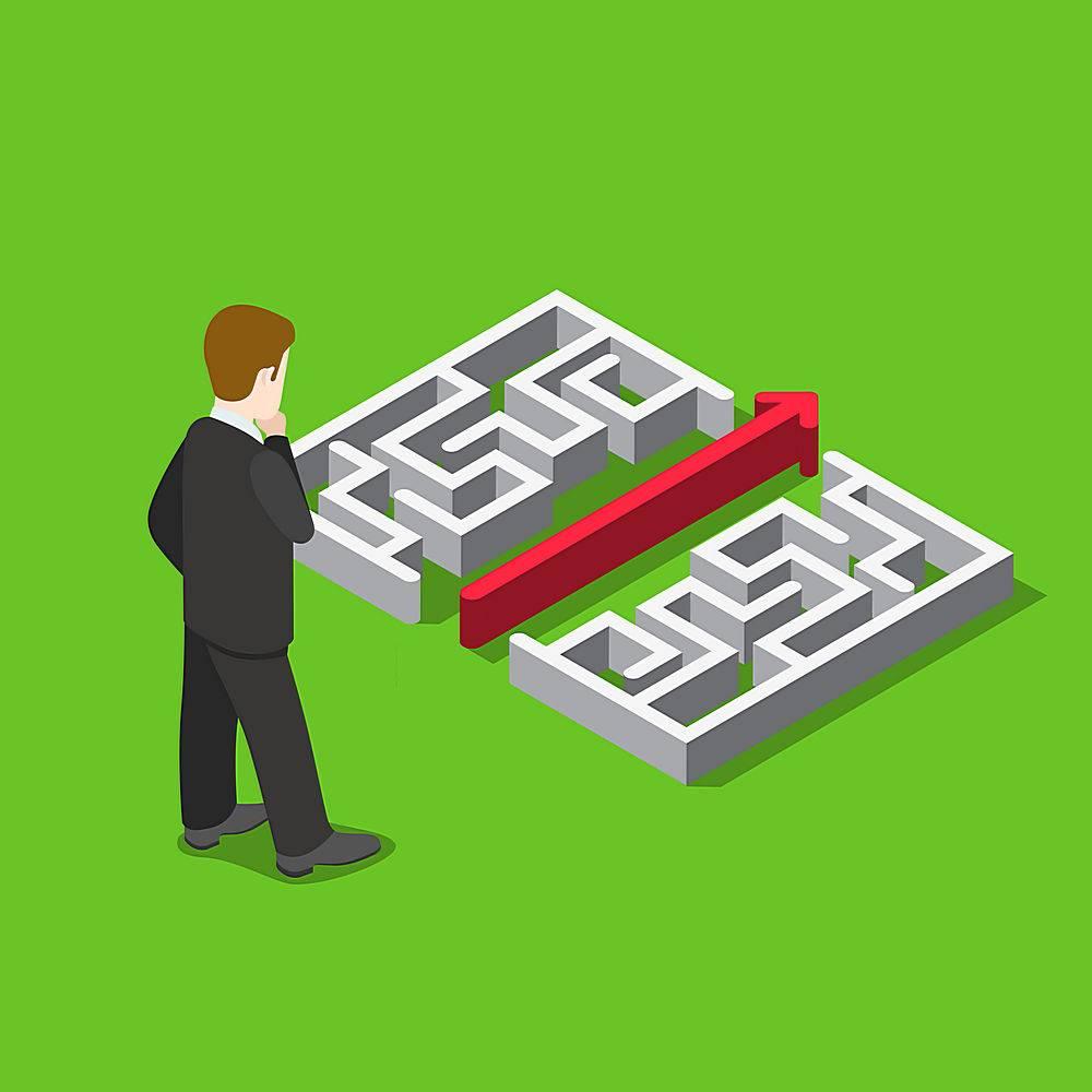 商务迷宫解决方案平面三维Web等距信息图概_11796872