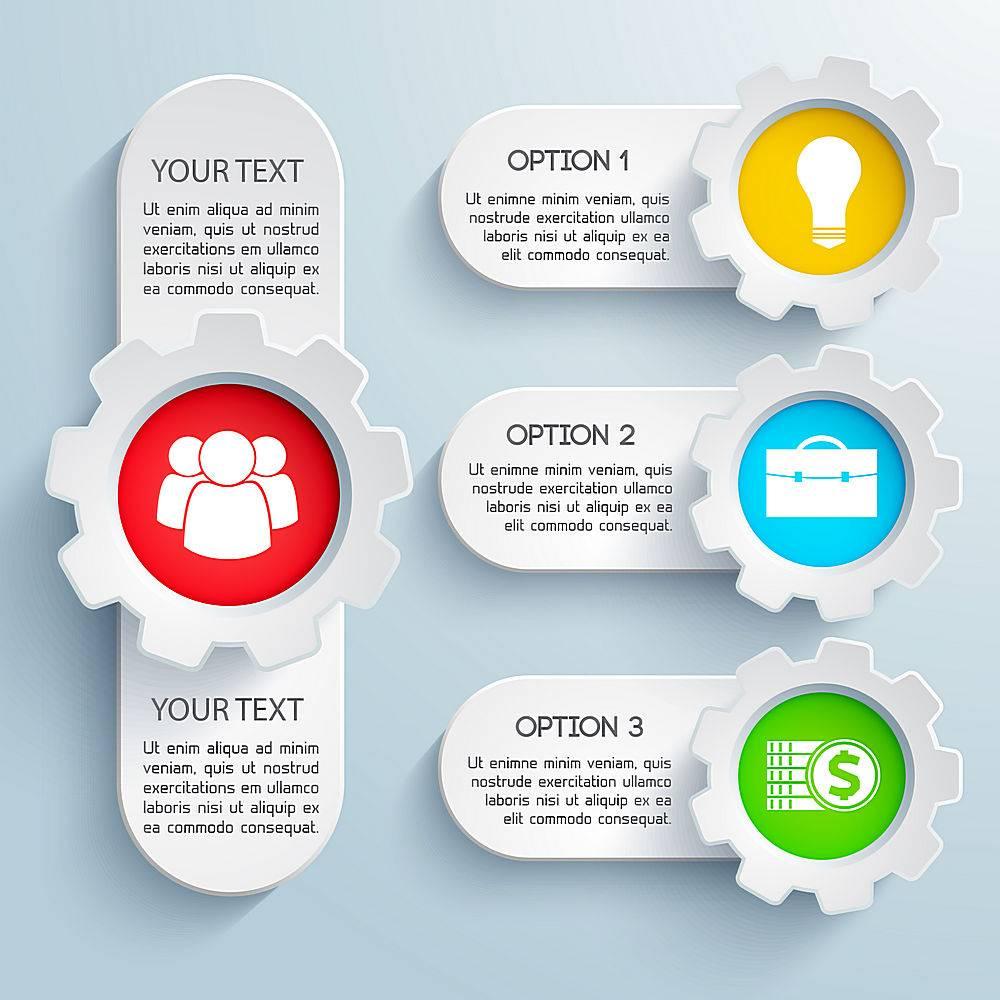 设计彩色图标和文本字段隔离的商业信息图集_11133555