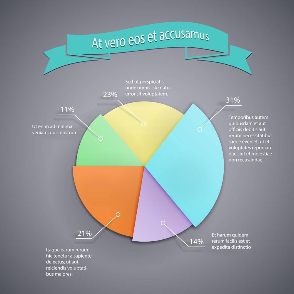信息图报告和演示文稿的矢量业务饼图模板_10603591