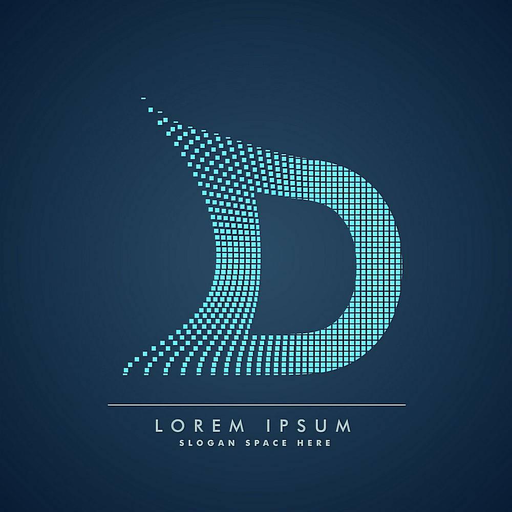 抽象风格的波浪字母d徽标_827278