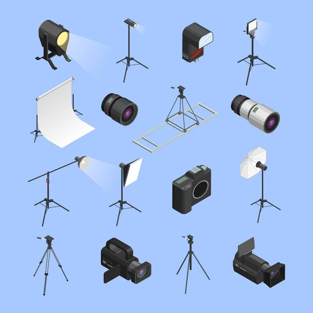 专业照相馆设备等距图标集_4270049