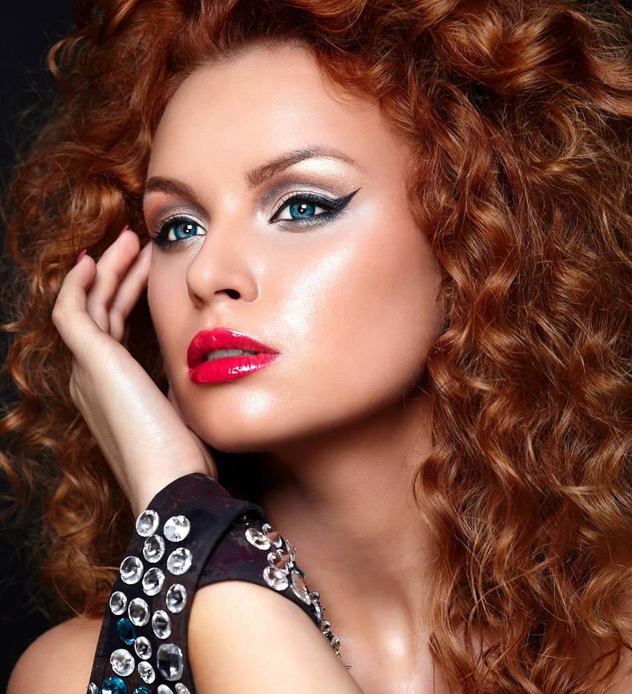 高级时尚造型迷人的特写肖像美丽性感的_7336012